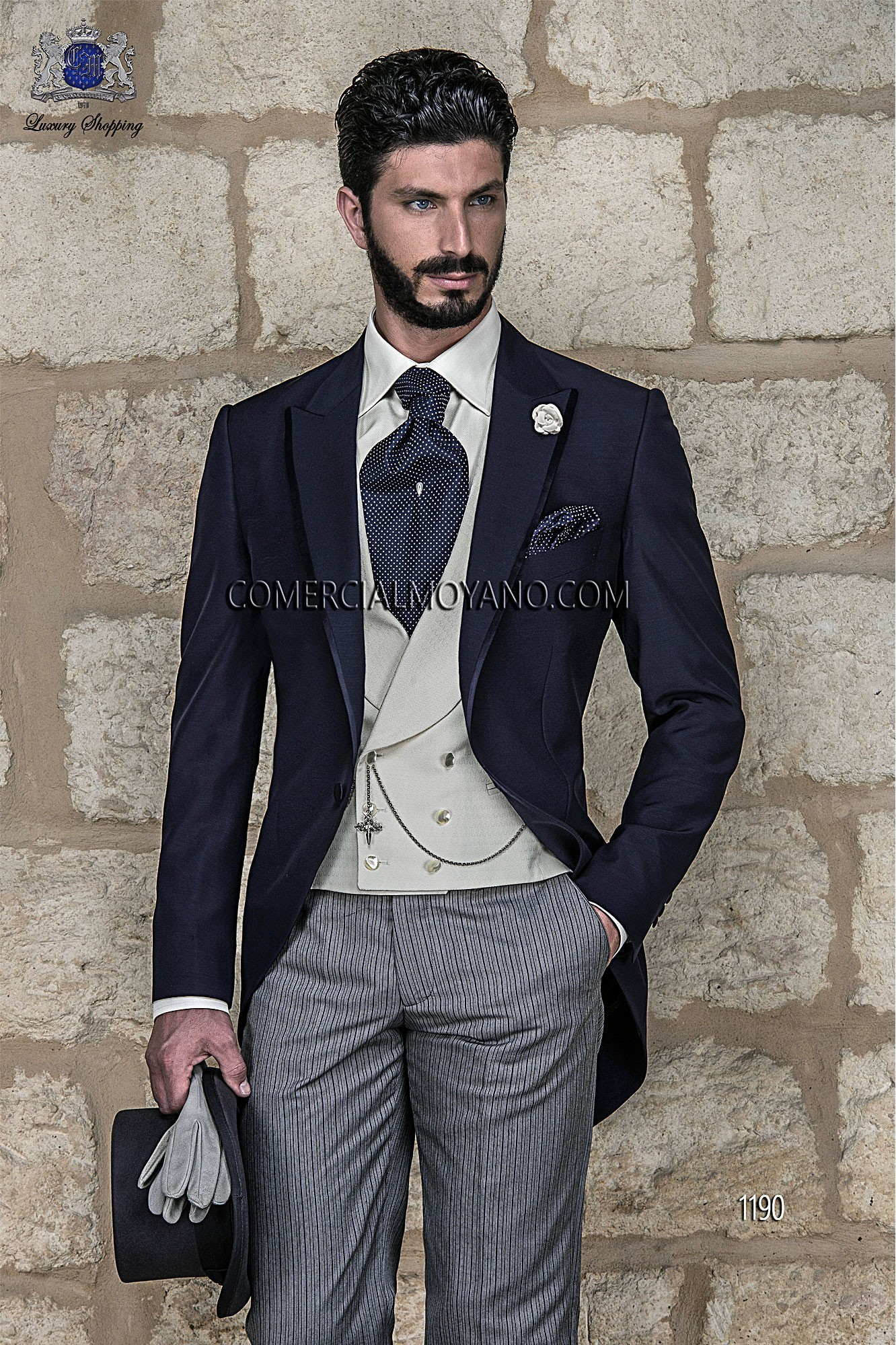 Italian bespoke blue short frock wedding morning suit, with diplomatic pants and ivory waistcoat, style 1190 Ottavio Nuccio Gala, Gentleman collection.