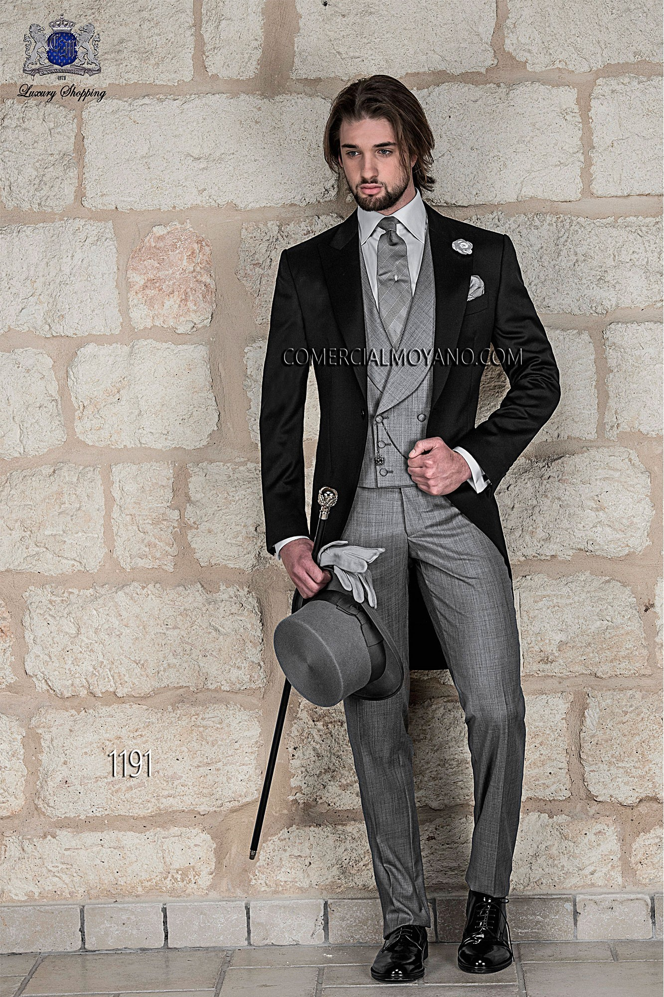 italienne sur mesure veste robe de matin fait du noir pur satin de laine avec revers - Costume Jaquette Mariage