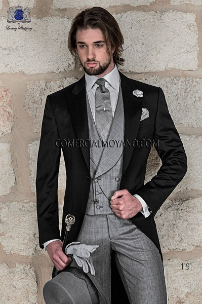 Italian black wedding morning suit