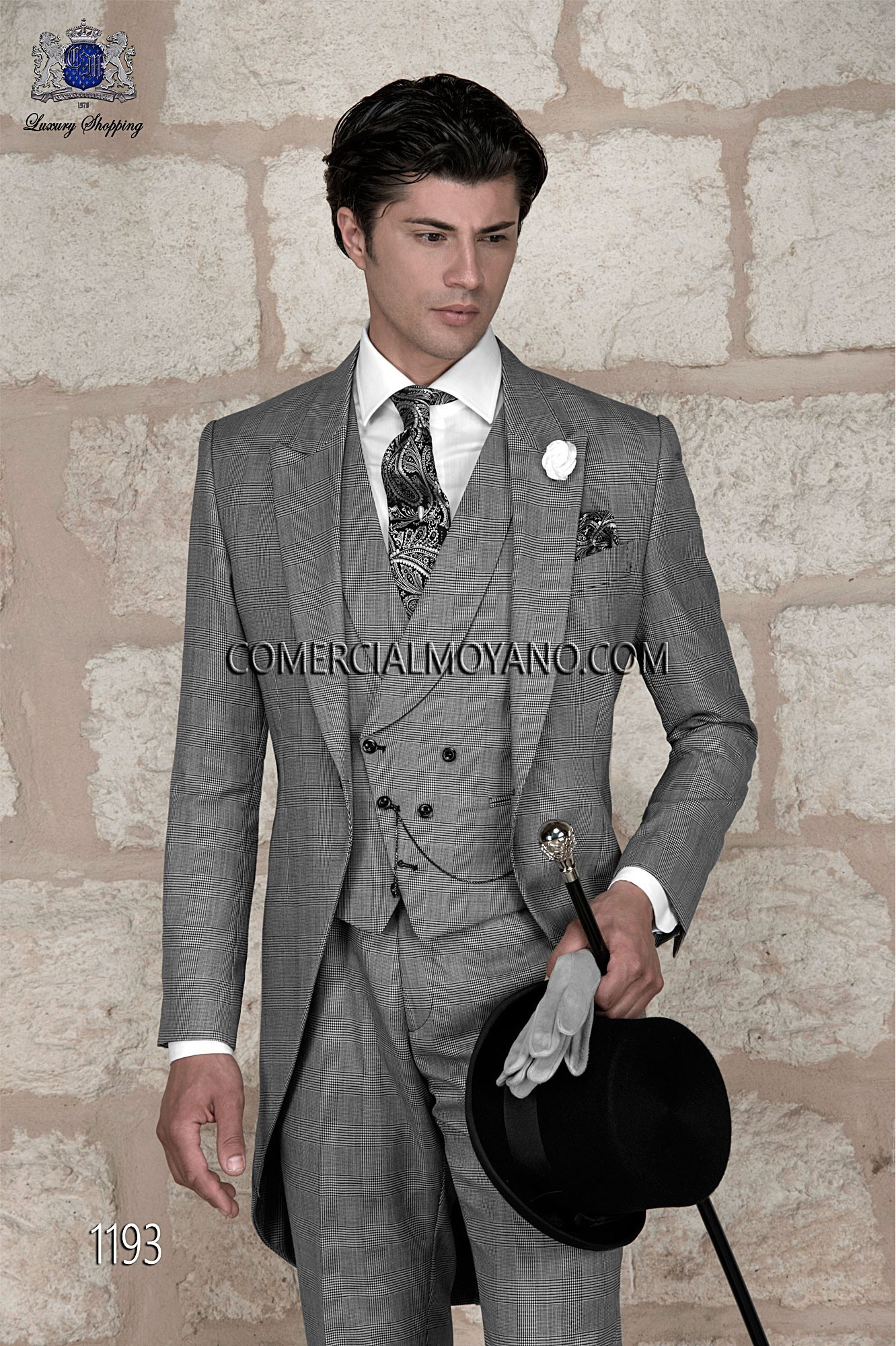 Traje de novio chaqué italiano a medida príncipe de gales gris modelo 1193 Ottavio Nuccio Gala colección Gentleman.