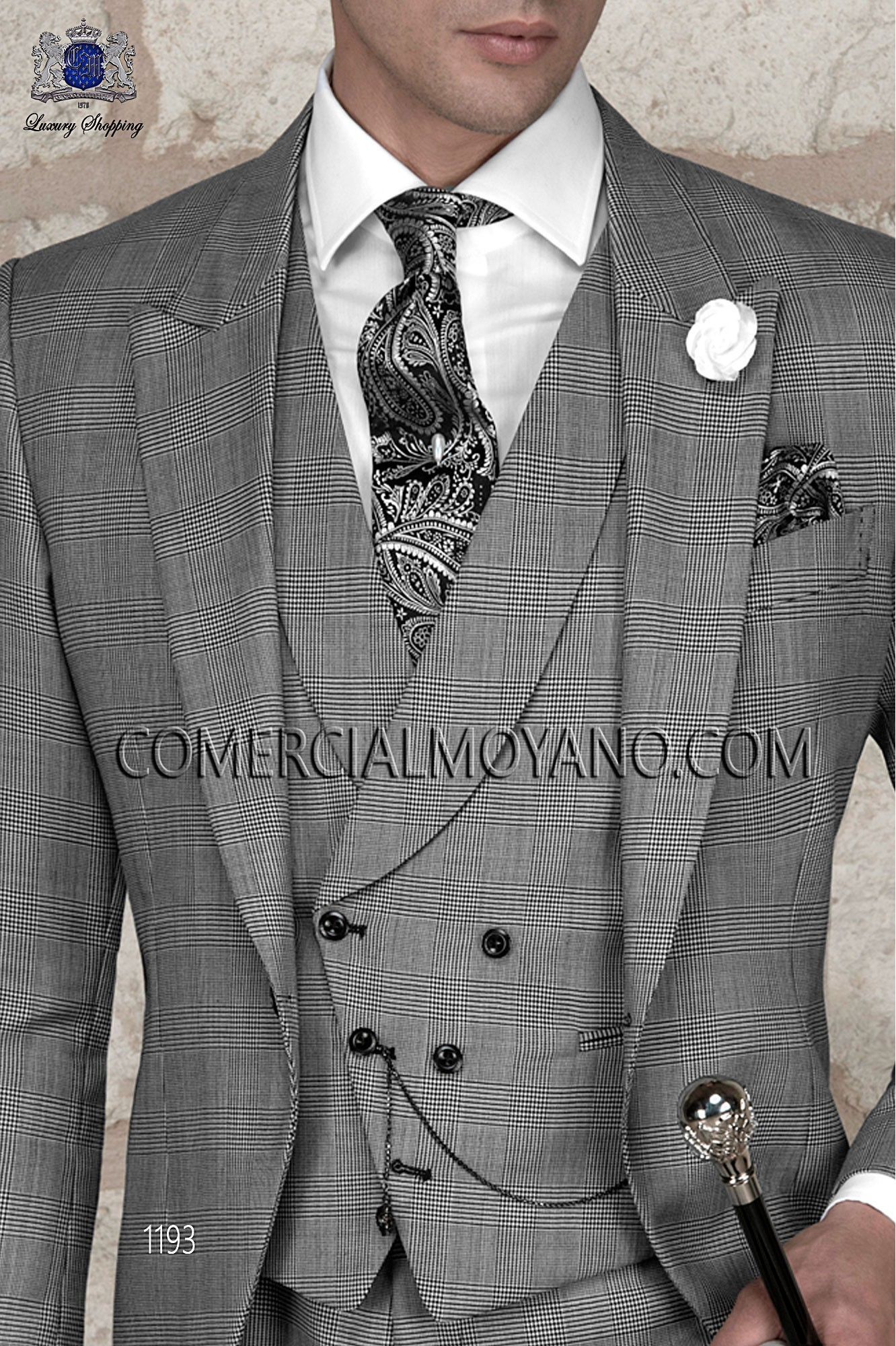 Italian gentleman gray prince of wales men wedding suit, model: 1193 Ottavio Nuccio Gala Gentleman Collection