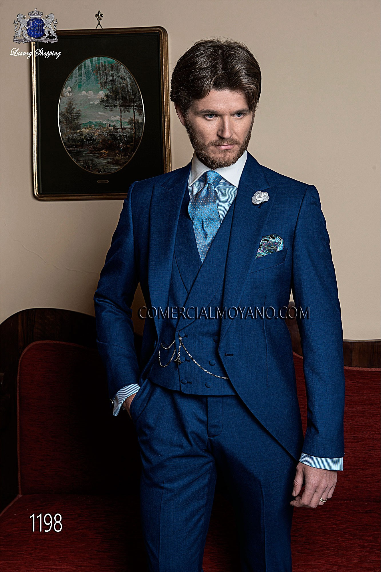 Italian bespoke wedding suit, blue short frock fil a fil, style 1198 Ottavio Nuccio Gala, 2015 Gentleman collection.