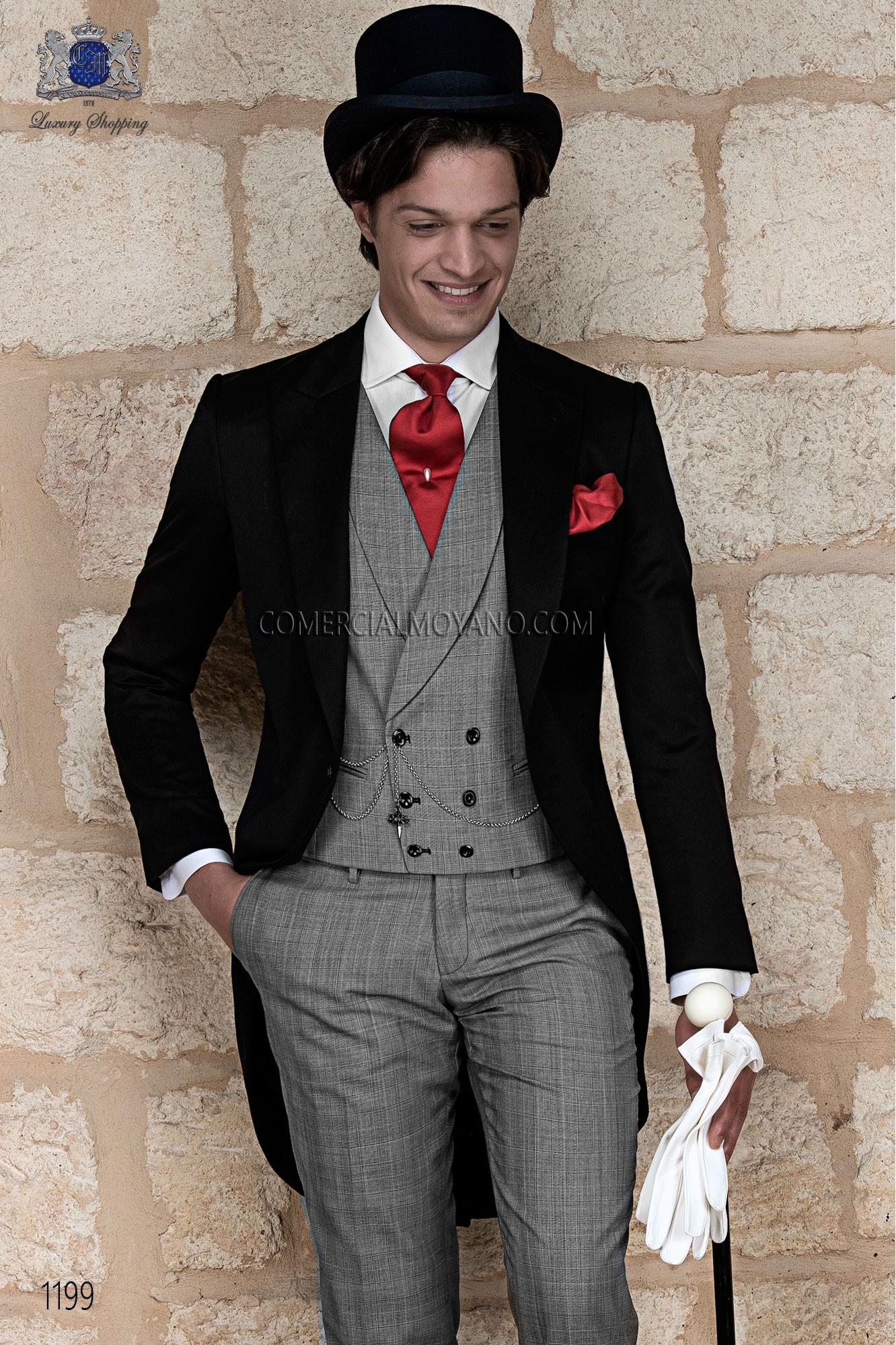 Traje de novio chaqué italiano a medida levita negra, pantalón príncipe de gales en gris modelo 1199 Ottavio Nuccio Gala colección Gentleman.