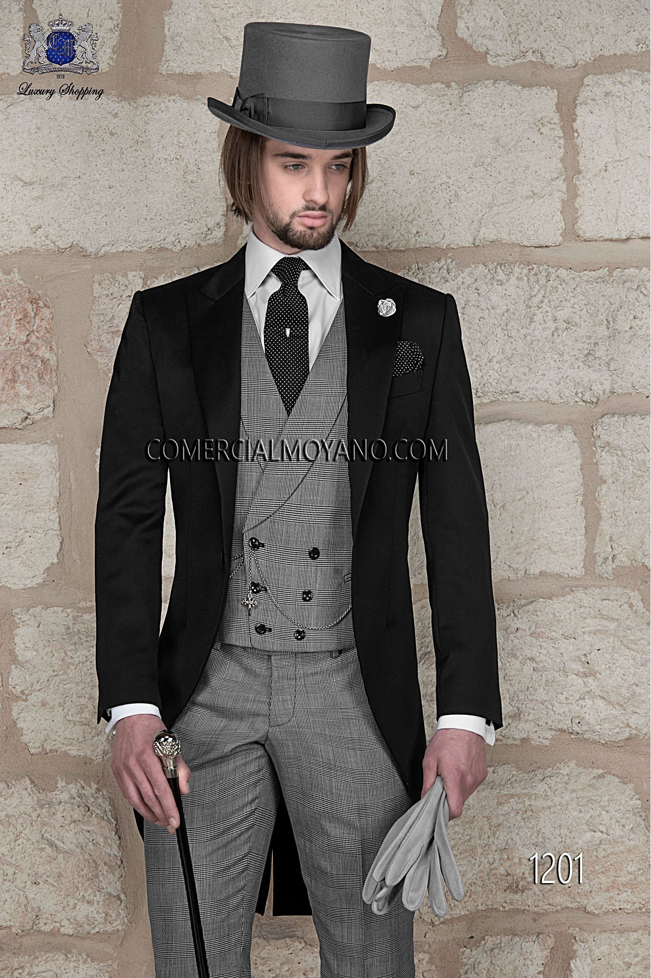 Traje de novio italiano negro modelo: 1201 Ottavio Nuccio Gala colección Gentleman
