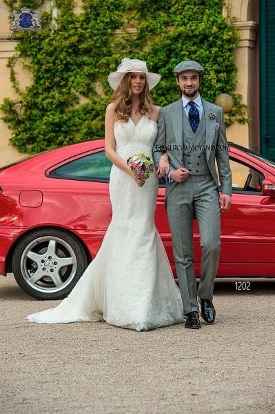 Italian gray prince of wales short frock groom suit