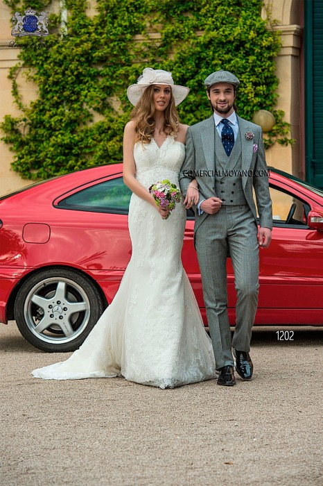 Italian gray prince of wales short frock groom suit