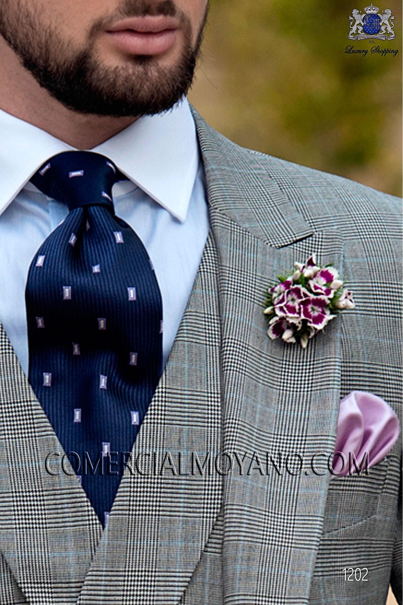 Italian gentleman gray prince of wales men wedding suit, model: 1202 Ottavio Nuccio Gala Gentleman Collection