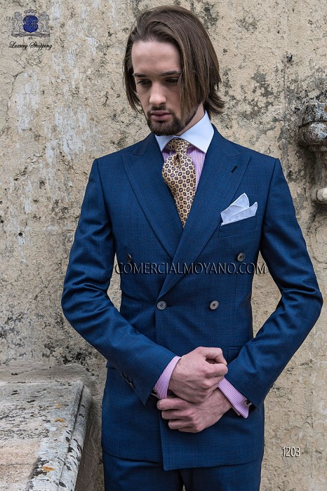 Italian blue double breasted groom suit