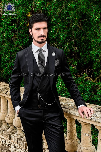 Italian black groom suit