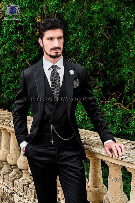 Italian black groom suit