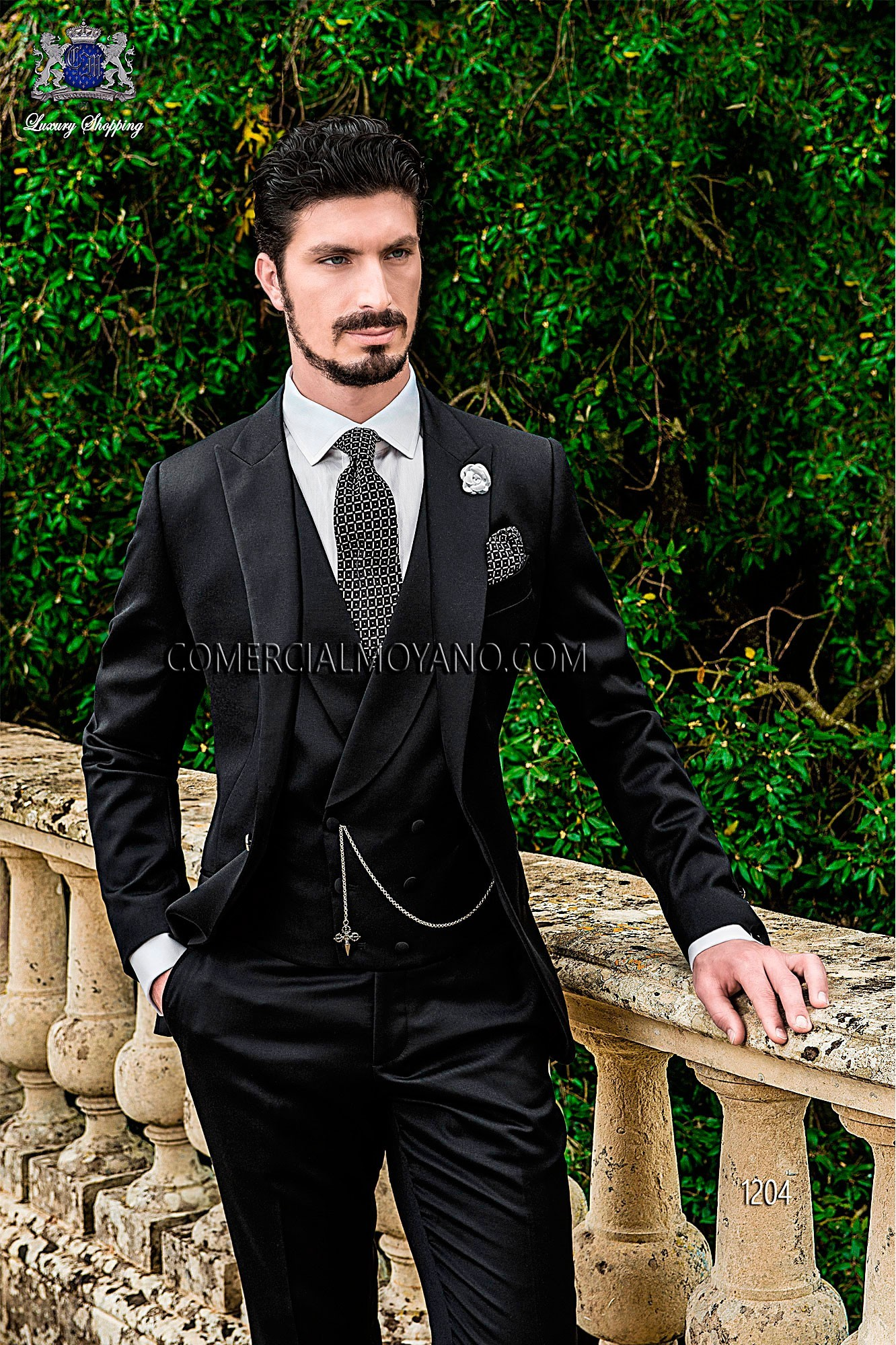 Traje de novio italiano negro modelo: 1204 Ottavio Nuccio Gala colección Gentleman