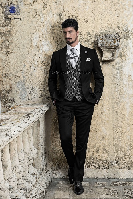 Italian black satin groom suit