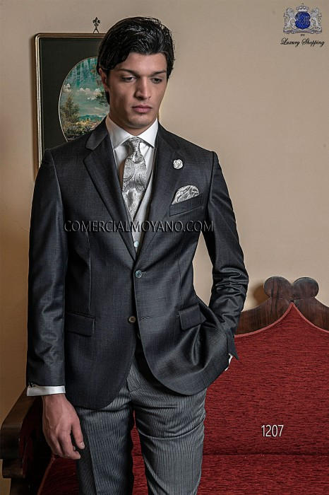 Italian gray groom suit