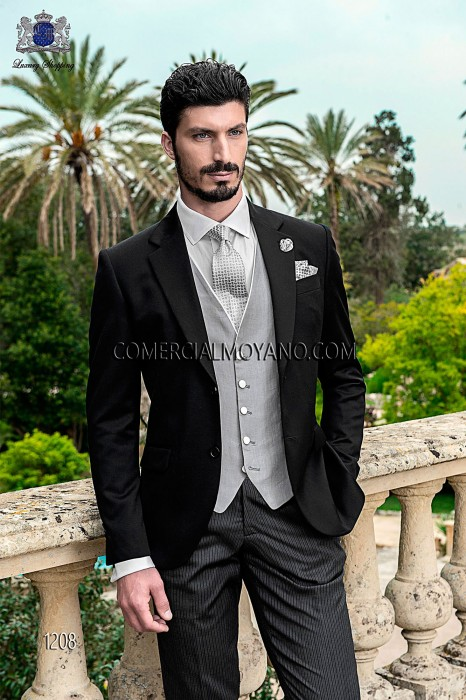 Italian black wool wedding suit