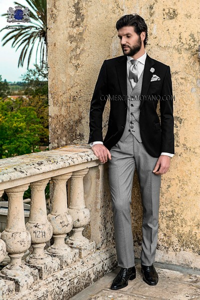 Italian wool black groom suit
