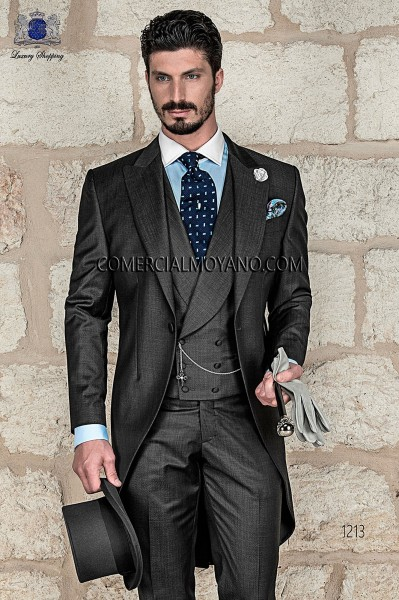 Italian gray fil a fil wedding morning suit