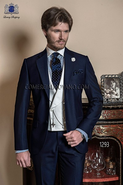 Italian bespoke blue groom suit