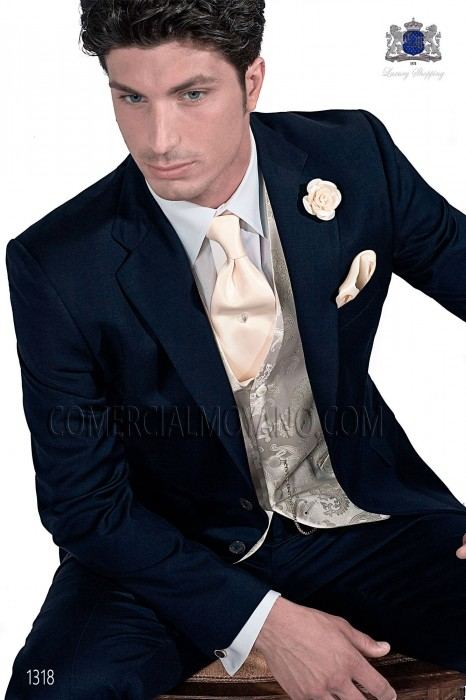 Italian navy blue wedding suit