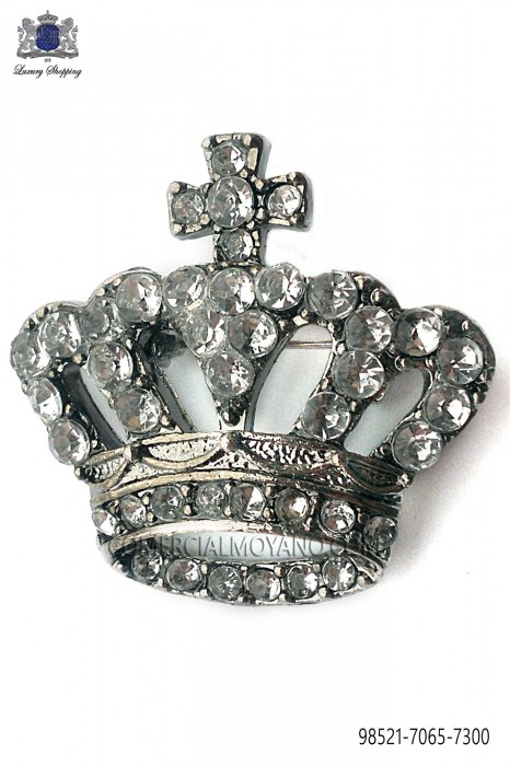 Crown brooch with crystal rhinestones