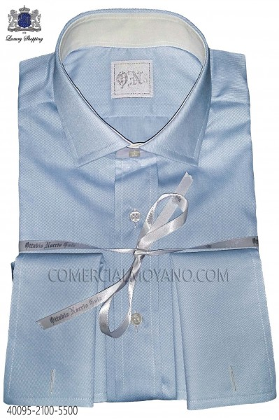 Sky blue cotton poplin shirt