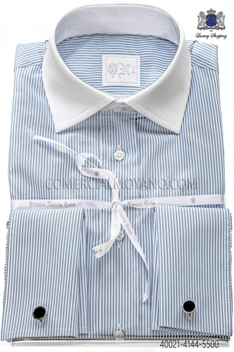 Sky blue striped cotton shirt