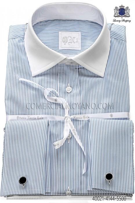 Sky blue striped cotton shirt
