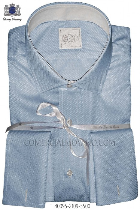 Light blue plain cotton shirt