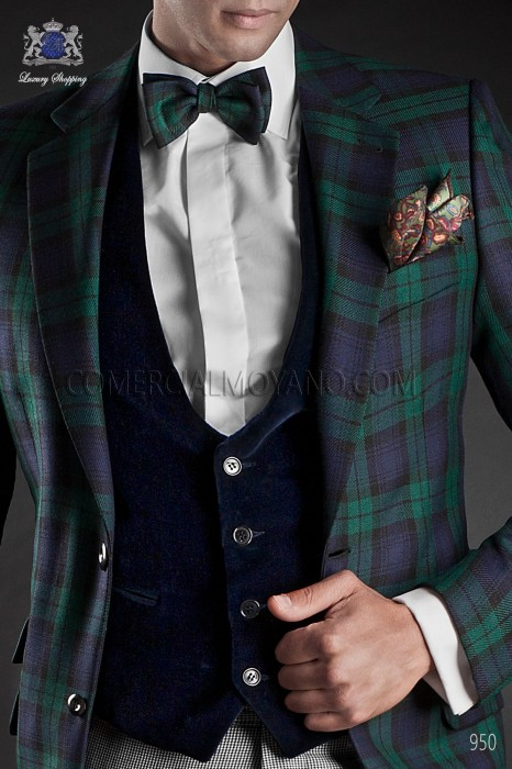 Blue velvet waistcoat
