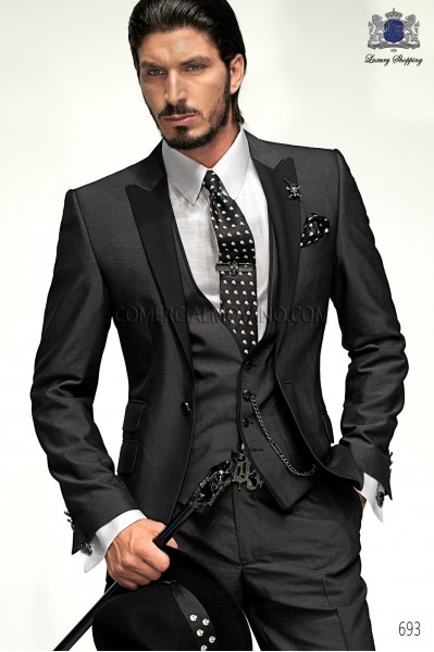 Italian charcoal gray men fashion suit 3 pz 693 Ottavio Nucio Gala