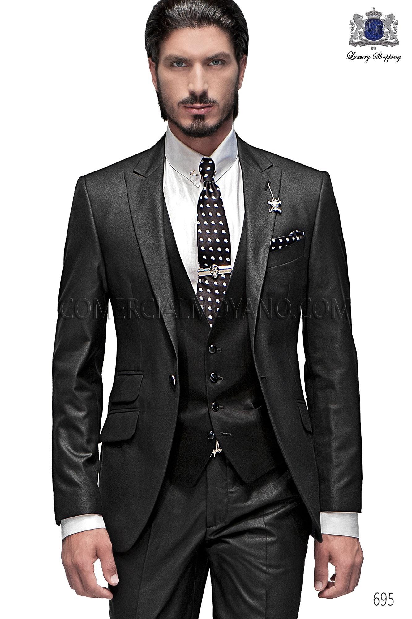italienische schwarze m nner mode anzug ongala. Black Bedroom Furniture Sets. Home Design Ideas