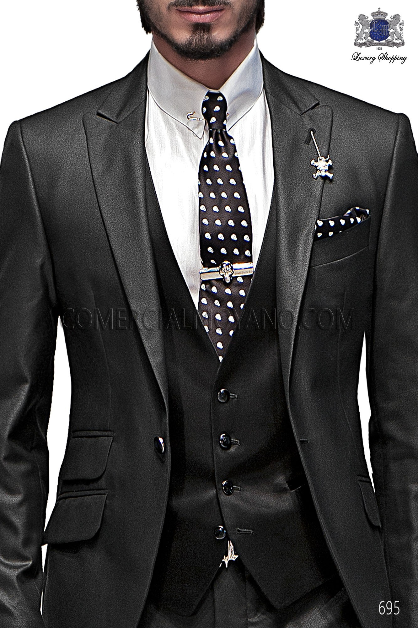 High Fashion Emotion black men wedding suit, model: 695 Ottavio ...