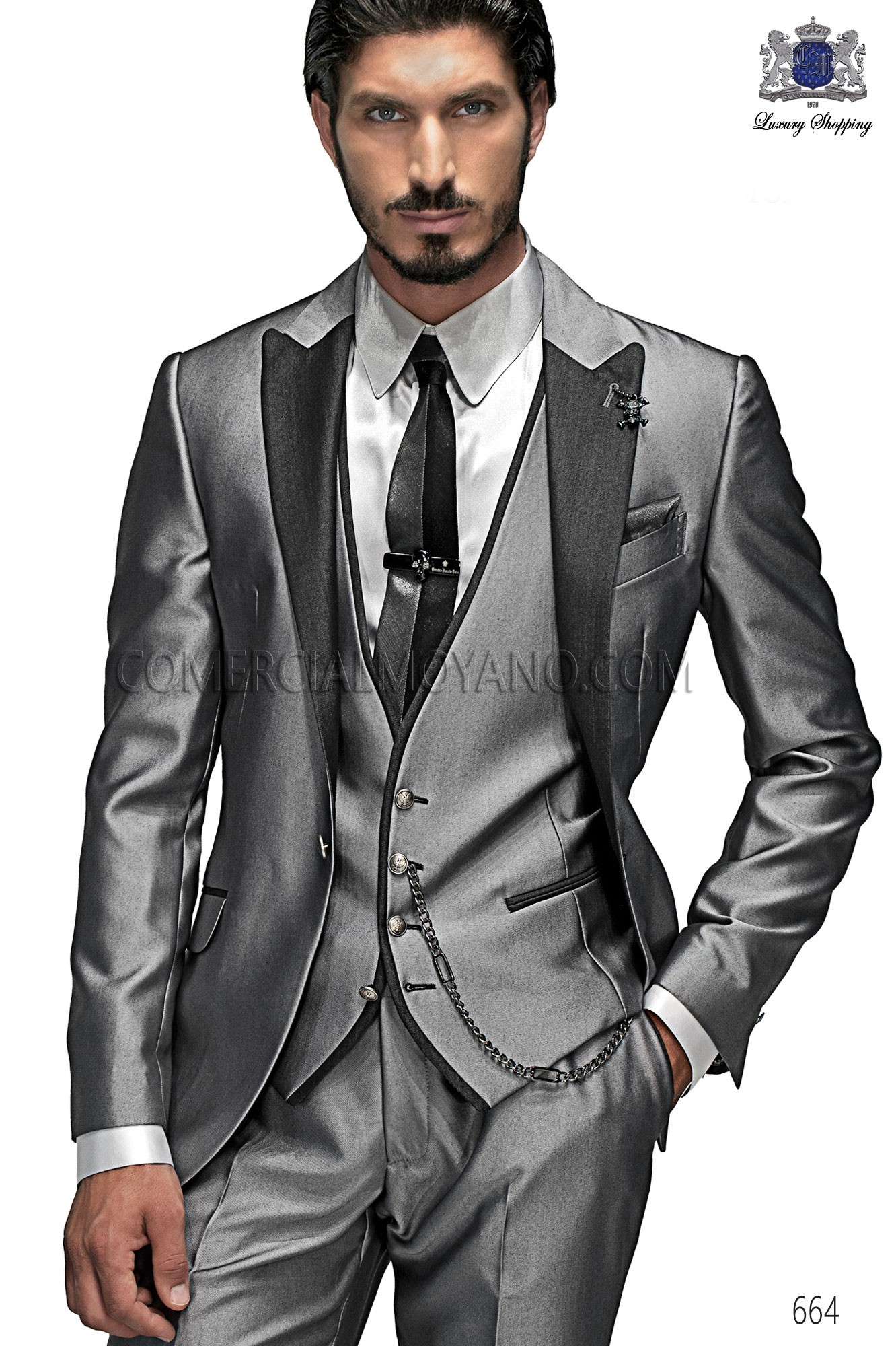 Emotion anthracite gray men wedding suit model 664 Ottavio Nuccio Gala