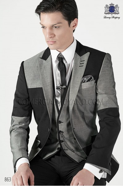 Italian dark gray and light gray patchwork men fashion suit 863 Ottavio Nuccio Gala