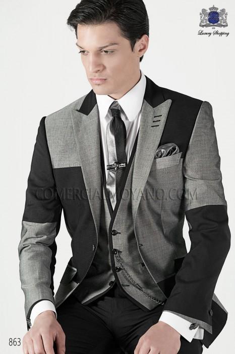 Italian dark gray and light gray patchwork men fashion suit 863 Ottavio Nuccio Gala