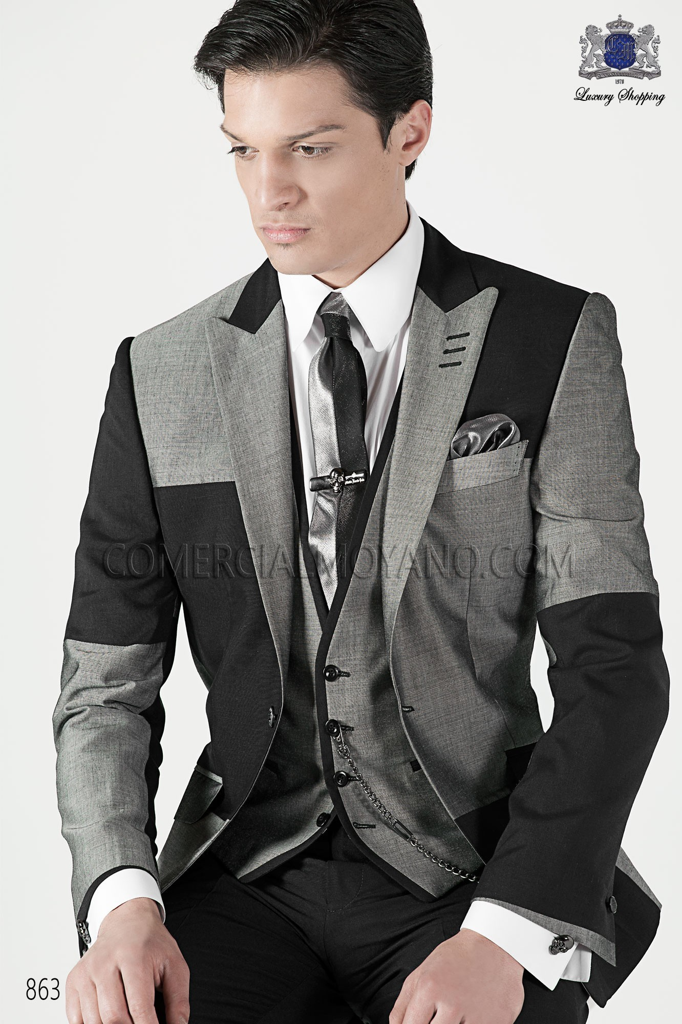 Emotion dark gray and light gray men wedding suit model 863 Ottavio Nuccio Gala