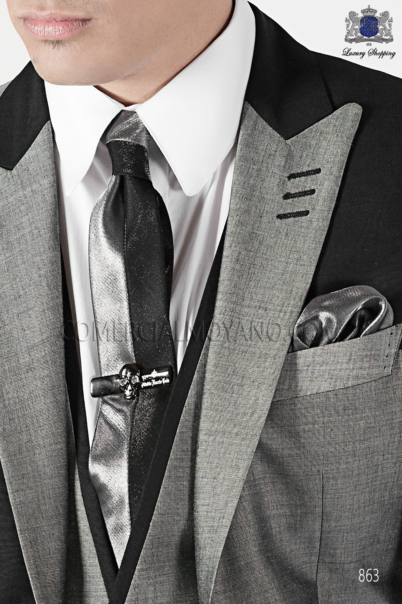 Italian emotion dark gray and light gray men wedding suit, model: 863 Ottavio Nuccio Gala Emotion Collection