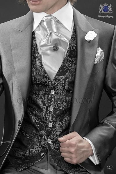 Chaleco negro seda jacquard diseños platas