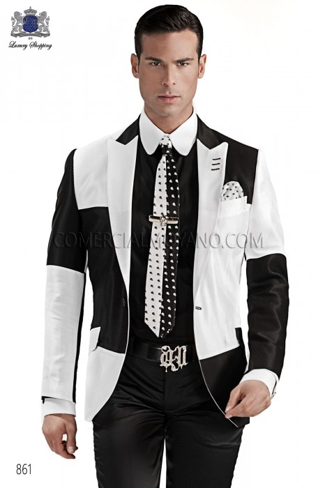 Italian white-black pique men fashion suit, ONGala.