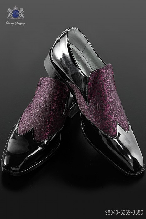 Black baroque shoes with purple brocade fabric