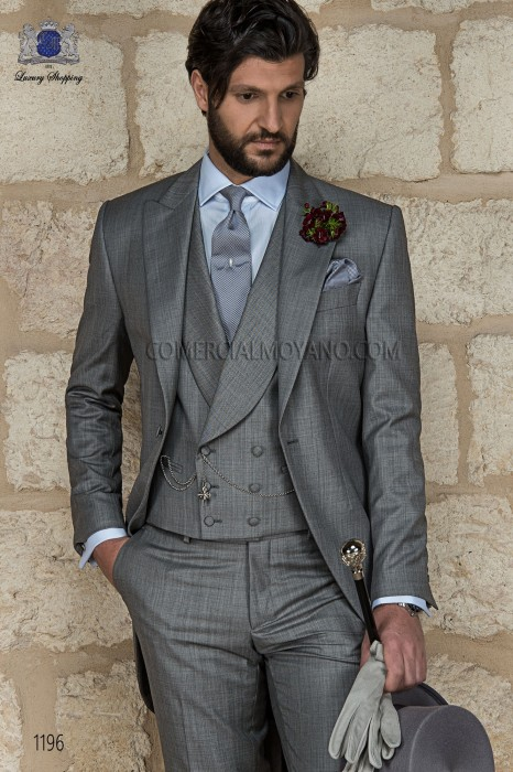 Italian gray fil a fil wedding morning suit 1196 Ottavio Nuccio Gala