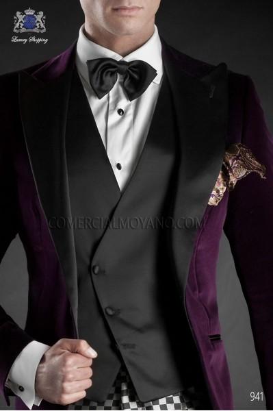 Black satin asymmetrical double-breated waistcoat