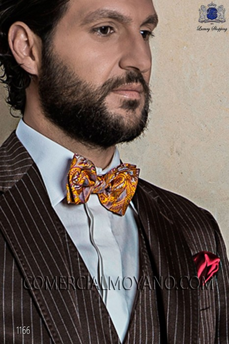 Stamped in gold silk bow tie 10272-2792-2900 Ottavio Nuccio Gala.