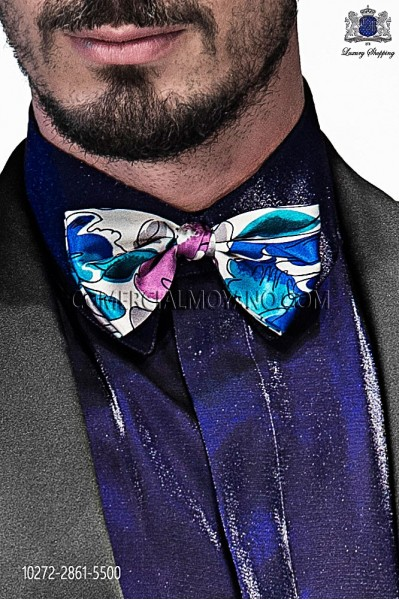 Blue, white and pink silk bow tie 10272-2861-5500 Ottavio Nuccio Gala.