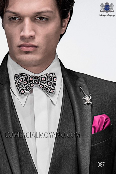 Silk bow tie on black geometric pattern 10272-2887-8600 Ottavio Nuccio Gala.