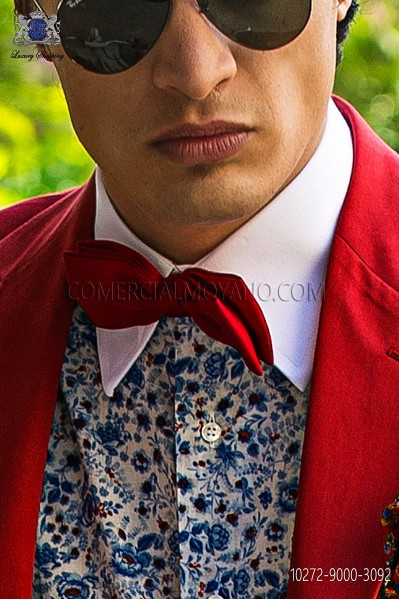 Red jacquard silk bow tie 10272-9000-3092 Ottavio Nuccio Gala.