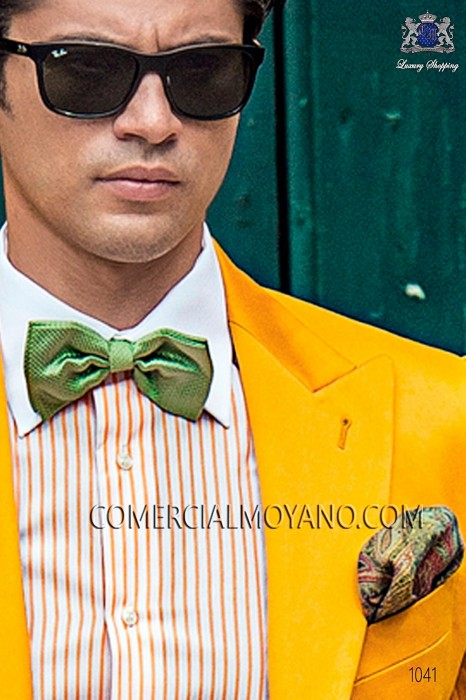 Light green jacquard silk bow tie 10272-9000-4085 Ottavio Nuccio Gala.