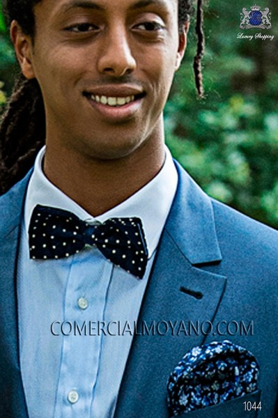 Blue with white polka dots silk bow tie 10272-9000-5075 Ottavio Nuccio Gala.