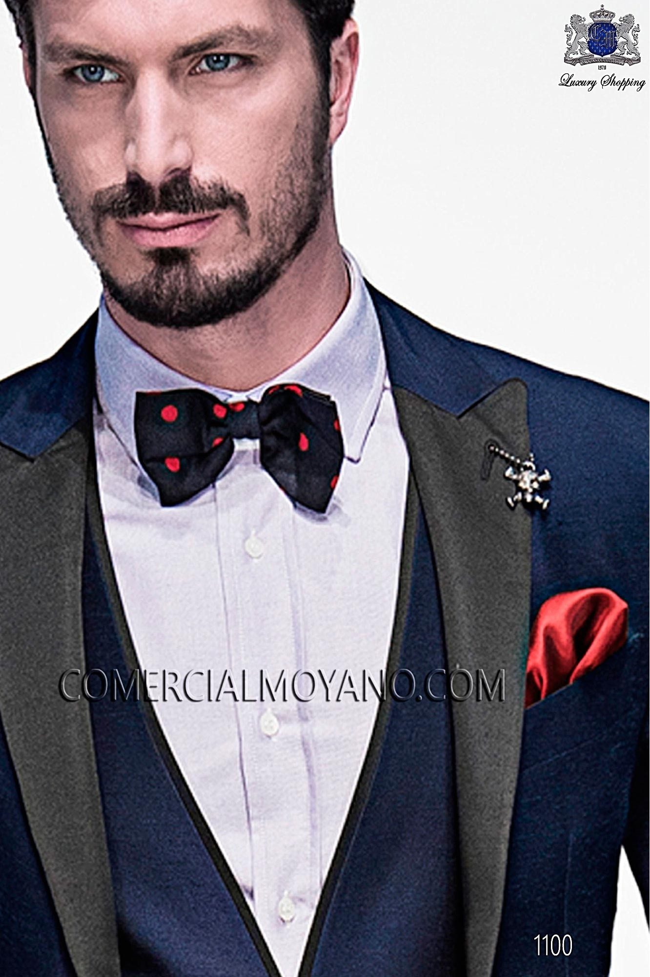 Blue polka dots red pure silk bow tie Ottavio Nuccio Gala.