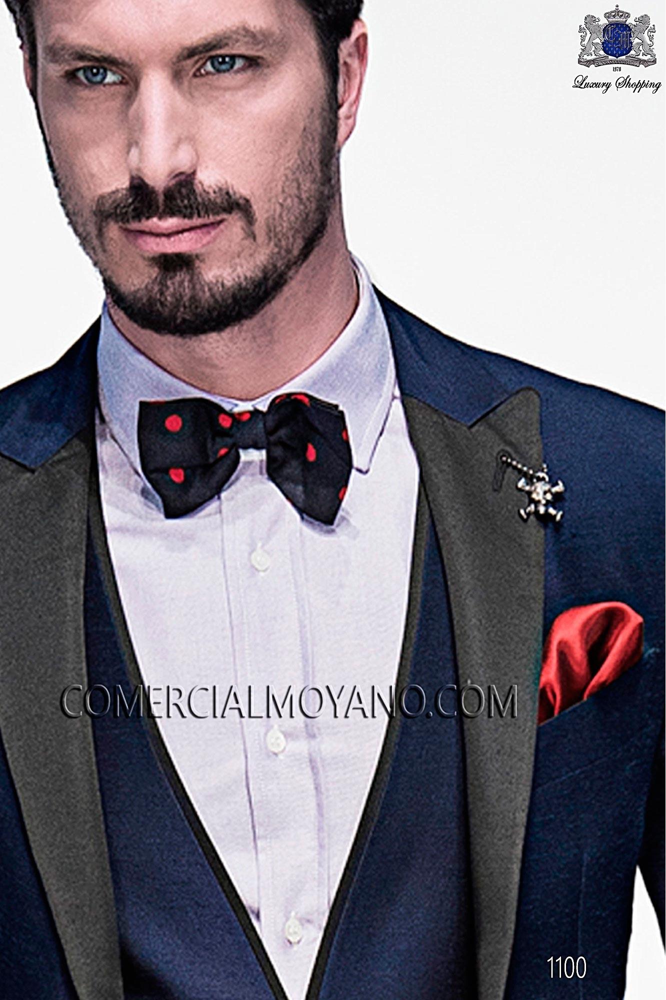 Pajarita azul con topos rojo de pura seda Ottavio Nuccio Gala