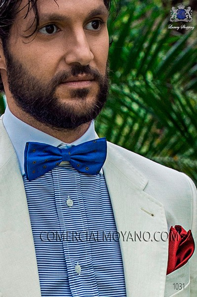 Azure blue jacquard silk bow tie 10272-9000-5193 Ottavio Nuccio Gala.